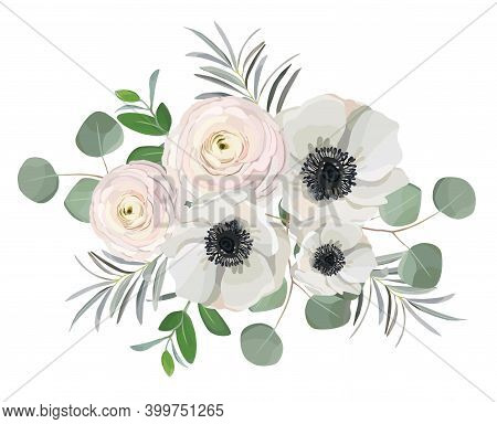 Hand Drawn Floral Bouquet With Anemone Ranunculus Rose Peony Flowers, Eucalyptus Branches And Leaves