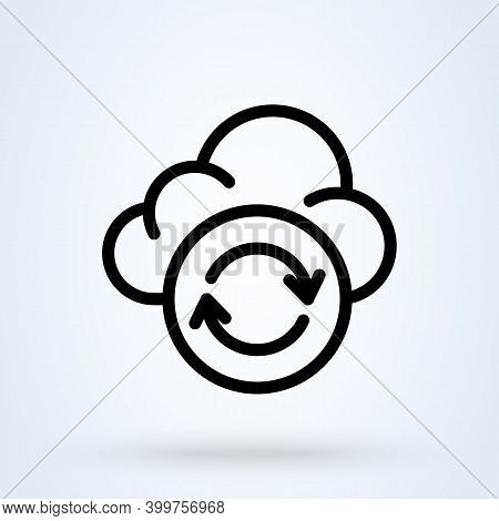 Backup Data Sign Line Icon Or Logo. Cloud Sync Or Cloud Refresh Concept. Data Storage Cloud Vector L