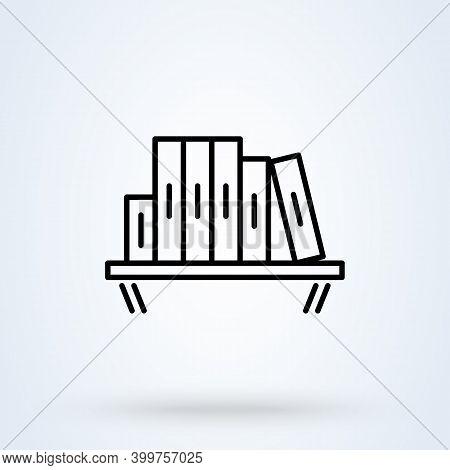 Bookshelf Sign Line Icon Or Logo. Books On The Shelves Concept. Library Bookshelf Vector Linear Illu