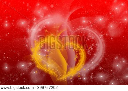 Valentine's Day Background With Hearts. Valentine's Day Abstract Background, Flying Hearts.