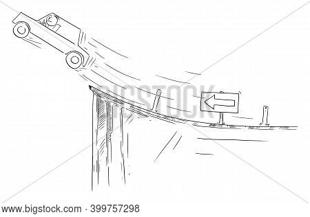 Vector Cartoon Stick Figure Illustration Of Driver In Car Flying Out On Unexpected End Of The Road.