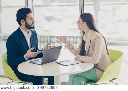 Portrait Of His He Her She Two Nice Attractive Stylish Trendy Employees Banker Economist Agent Broke