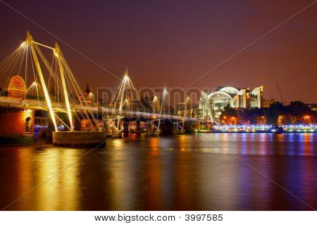 London River Scene By Night
