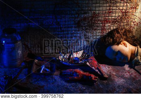 Human Limbs And Remains Are Covered In Blood. Creepy And Gloomy Room For Medical Experiments. Dirty