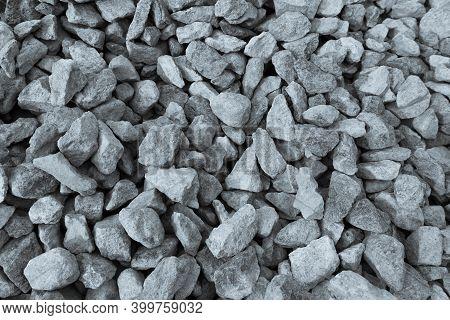 Background Texture Of Construction Gravel. Stone Gravel