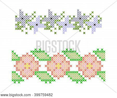 Set Of Seamless Borders. Cross Stitch. Floral Ornaments In The Style Of Cross-stitch.