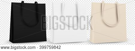 Black And White Tote Shopping Bags. Textile Tote Bag For Shopping Mockup. Vector Illustration Isolat