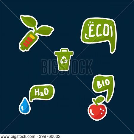 Cute Set Of Energy Saving Stickers. Natural Energy Sources Bucket For Recycling Garbage, Water, Frui