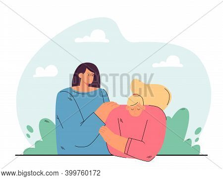 Friendship, Help, Empathy Concept. Depressed Unhappy Person Meeting With Friend. Woman Touching Shou