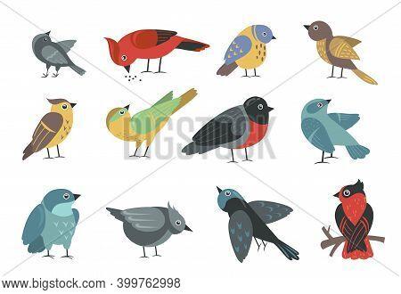 Various Colorful Small Birds Set. Cute Cartoon Little Sparrow, Swallow, Bullfinch, Thrush, Tit Isola