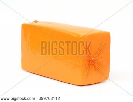 Semi-hard Cheese Gouda, Cheddar, Edam, Russian Cheese Block, Loaf For Sale Isolated On A White Backg