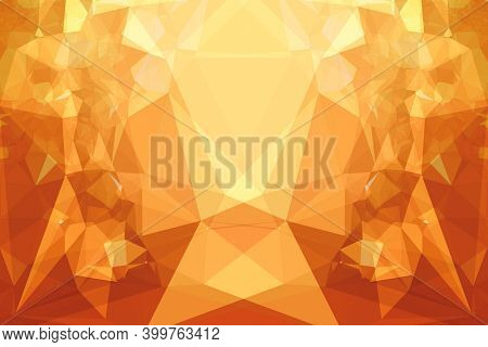 Abstract illustration of orange kaleidoscopic polygonal abstract shapes against yellow background. background with abstract texture with abstract shapes concept