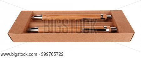 Two ball pens in cardboard box business gift isolated on white background