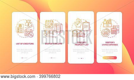 Creditor And Debtor Red Onboarding Mobile App Page Screen With Concepts. Banking, Accounting. Financ