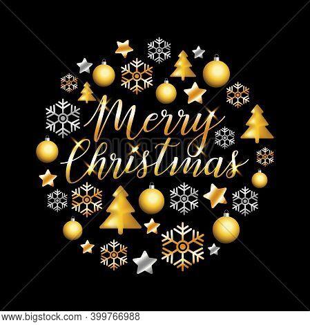 Merry Christmas Gold Glitter Lettering Design. Christmas Greeting Card, Poster, Banner. Vector Golde