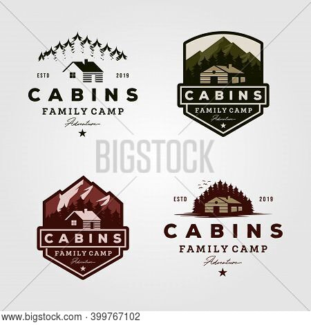 Vintage Cabins Logo Collections Vector Illustration Design