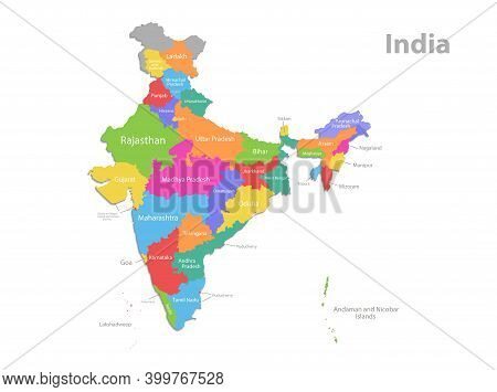 India Map, Administrative Division, Separate Individual Regions With Names, New Map Of Division Year