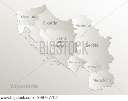 Yugoslavia Map, Administrative Division, Separates Regions And Names Individual States, Card Paper 3