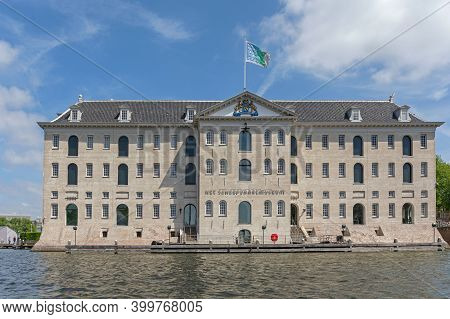 Amsterdam, Netherlands - May 17, 2018: National Maritime Museum Building In Amsterdam, Holland.