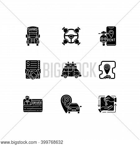 Car Sharing And Rental Service Black Glyph Icons Set On White Space. Getting Cars And Trucks For Lon