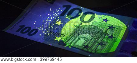 100 Hundred Euro Currency In Uv Light Protection.euro In Uv Light.euro Currency In Uv Light Protecti