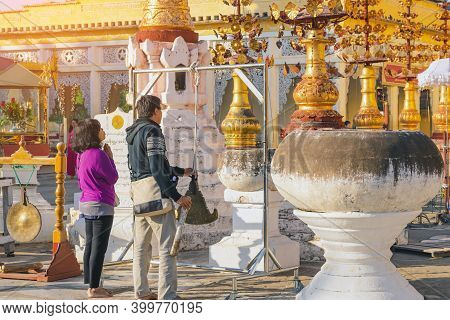 Bagan-myanmar, January 21, 2019 : Unidentified Tourists Make Merit And Photographing At Shwezigon Pa