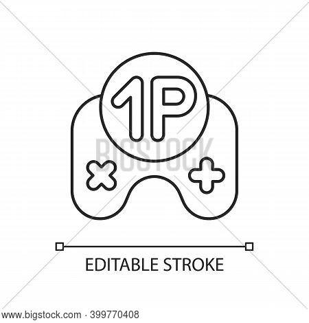 Single Player Game Linear Icon. Videogame Solo Mode. Virtual Pastime Thin Line Customizable Illustra