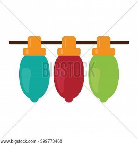 Isolated Christmas Lightbulb Icon. Green, Red And Blue Lightbulb. Vector Illustration