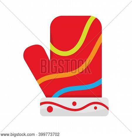 Isolated Christmas Glove Icon. Red Wool Glove. Vector Illustration