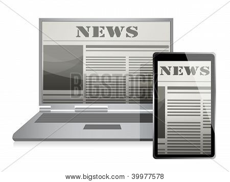 News Concept With Business Newspaper On Screen