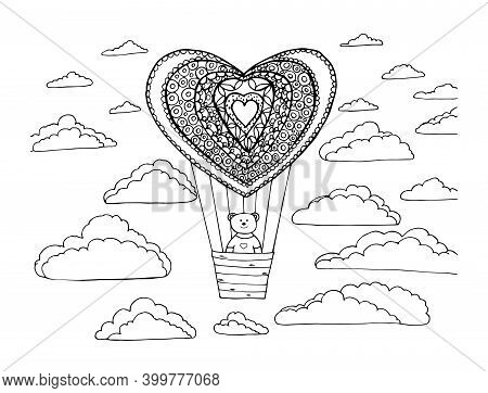 Teddy Bear On A Balloon. Illustration Of Anti-stress Coloring On A White Background. Drawn Sketch Fo