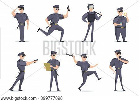 Funny American Policeman In Different Poses Flat Item Set. Cartoon Character In Cop Outfit With Gun