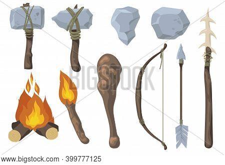 Neanderthal Primitive Rock Weapon Flat Set For Web Design. Cartoon Ancient Arrow, Bow, Axe, Mace, Sp