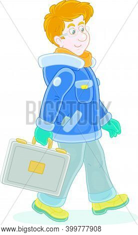 Young Man In Winter Clothes Holding A Briefcase And Walking With Vigorous Strides In A Good Mood, Ve