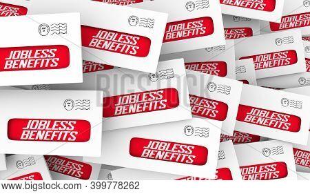 Jobless Benefits Unemployment Check Assistance Out of Work Envelopes 3d Illustration