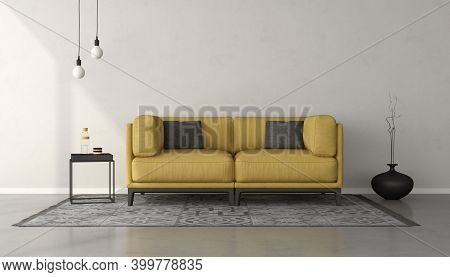 White Minimalist Living Room With Yellow Sofa On Gray Carpet - 3d Rendering