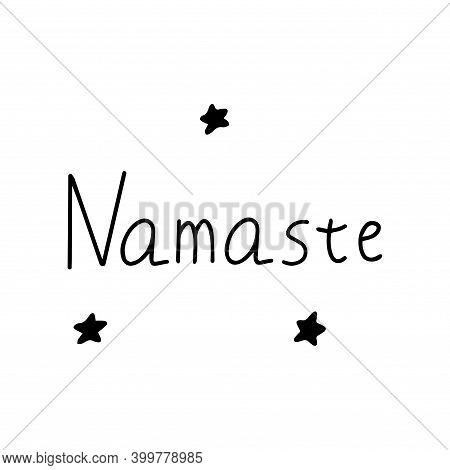 Namaste. Indian Greeting In Hindi. Black And White Vector Illustration Isolated Doodle. Handwritten