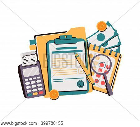 Office Desk With Money And Business Documents. Workplace Auditors. Calculation Of Payments, Wages Or