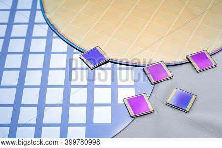 Several Silicon Wafers With Printed Circuit And Separate Microchips .