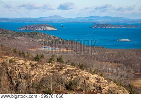 Scenic View Of Acadia National Forest And Seashore