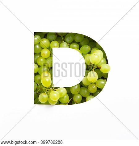 Letter D Of English Alphabet Of Fresh Grape And Cut Paper Isolated On White. Typeface Of Green Berri
