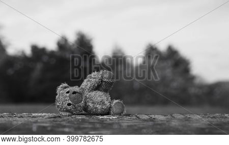 Lost Teddy Bear With Sad Face Lying On Footpath With Blurry Background,lonely Bear Doll Laying Down