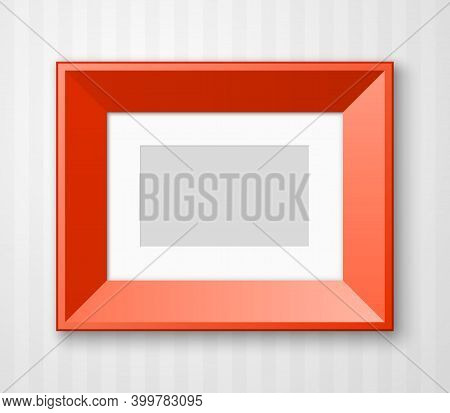 Horizontal Photo Frame With Paper Passepartout For Picture Hanging On Wall With Striped Wallpaper Ba
