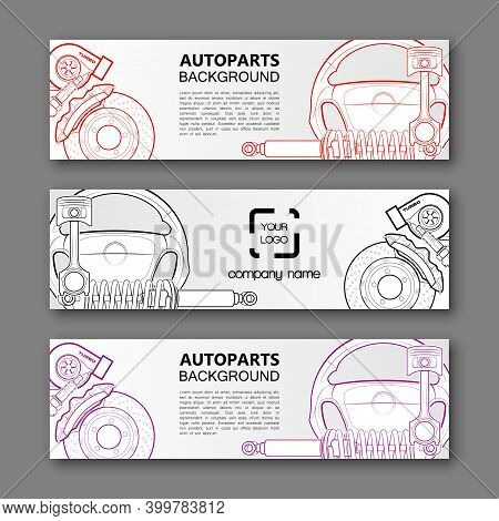 Auto Parts Banner. Modern Template Vector Design. Vector Car Service Design Auto Parts Template. Hea