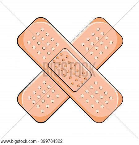 Adhesive Bandage Elastic Medical Plasters. First Aid Band Plaster Vector Illustration. Adhesive Plas