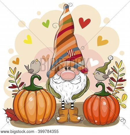 Cute Cartoon Gnome With Two Pumpkins And Birds