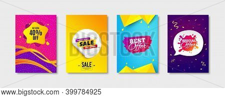Sale 50 Percent, Special Offer And Best Offer Promo Label Set. Sticker Template Layout. Sale Shape S