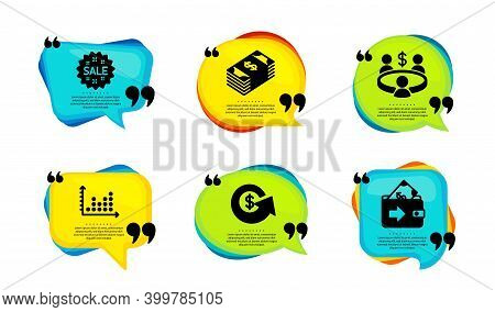 Dot Plot, Sale And Meeting Icons Simple Set. Speech Bubble With Quotes. Usd Currency, Dollar Exchang