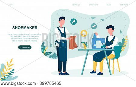 Two Young Shoemakers Fixing Shoes With Sewing Machine. Male Characters Wearing Apron Mending Shoe. C