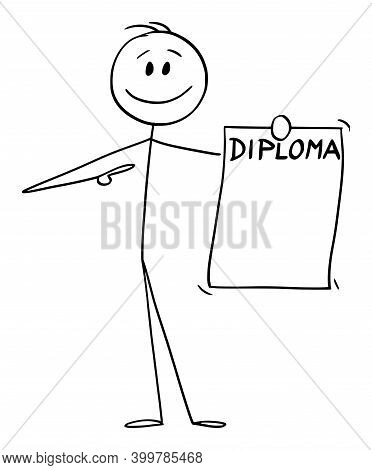 Cartoon Stick Figure Illustration Of Smiling Positive Man Or Businessman Holding And Showing His Dip